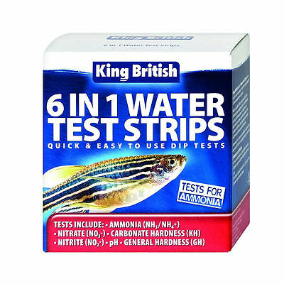 KING BRITISH 6 IN 1 WATER TEST STRIPS AQUARIUM & PONDS AMNONIA NITRATE pH GH KHH