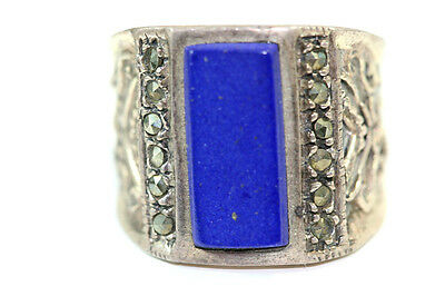 "B851 Lapis Marcasite Sterling 8.4g 925 Ring top 5/8""w size 7"