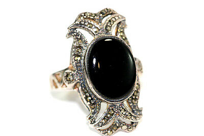 "B852 Onyx Marcasite Sterling 8.3g 925 Ring top 1 1/8"" size 8 3/4"