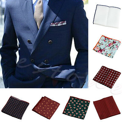 Gentlemen Men Floral Cotton Pocket Square Handkerchief Wedding Hanky Party