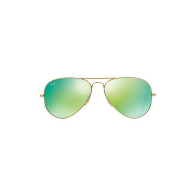 New Ray Ban Aviator Sunglasses RB3025 Matte Gold 112/19 55mm Green Mirror Lens
