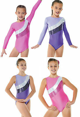 Girls Sparkle Gym Lycra Blocks Leotard. All sizes! Gym/ Dance. PINK or PURPLE