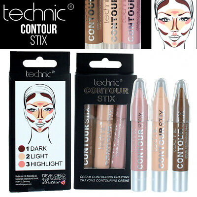 Technic Contouring Stix Cream Kontur Set Of 3 Crayons - Bronzer Highlighter