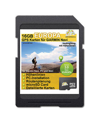 16 GB Europe Topo Map - Compatible with Garmin Oregon 650t, Montana 600