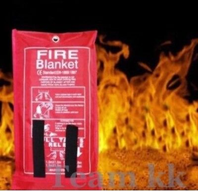 Fire Blanket Home Safety Large Quick Release Protection 1M X 1M In Case Work New
