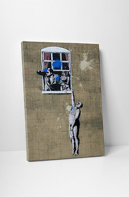 Banksy Naked Man Gallery Wrapped Canvas Print. BONUS BANKSY WALL DECAL!