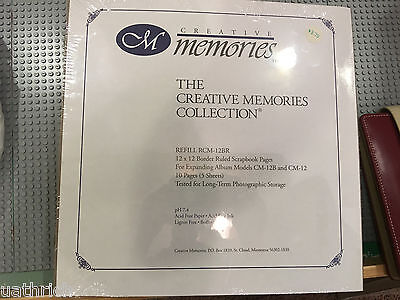 Creative Memories Refill RCM-12BR 12x12 Border Ruled 10 Pages 5 Sheets New