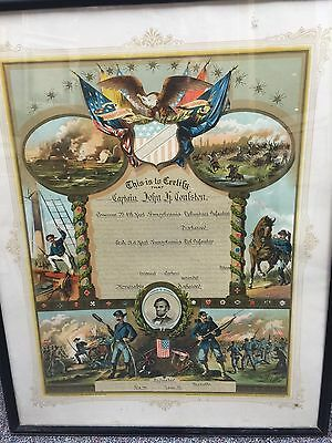 """Civil War UNION ARMY  """"CERTIFICATE OF DISCHARGE"""" Original. Not Poster!!"""