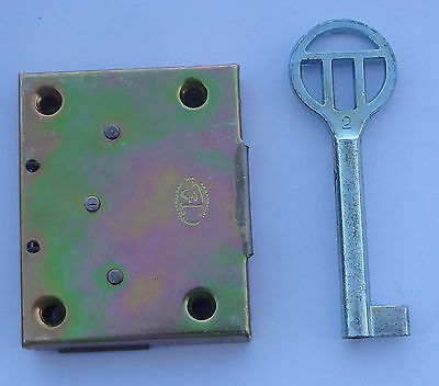 Vintage Furniture Screw-on Lock Box Desk + Skeleton Key 1 3/4'' x 2 3/16'' NOS