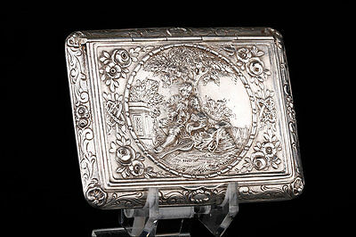 Antique Sterling-Silver Pillbox with Embossed Decoration. Germany, 19th Century