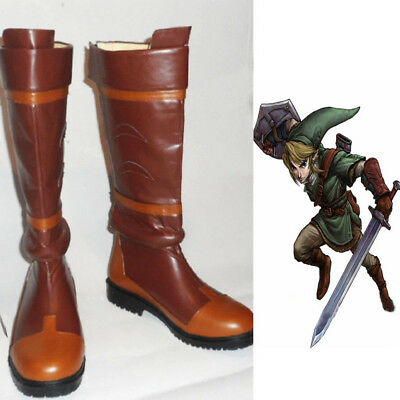 The Legend of Zelda Link Anime Brown PU Shoes Cosplay Knee High Boots Customized