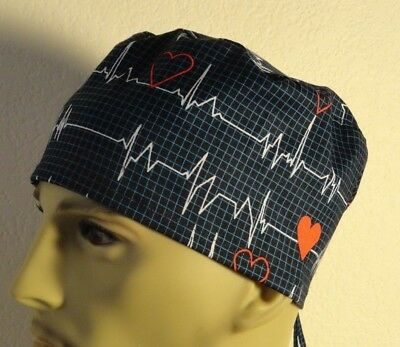 Medical_Surgical_ scrub hat_cap_Beats in time_red hearts_heart beats_cotton