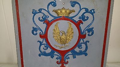 """ANTIQUE CAST IRON EAGLE SHIELD SCROLLS ORNATE FIREPLACE COVER 20"""" by 19 1/2"""""""