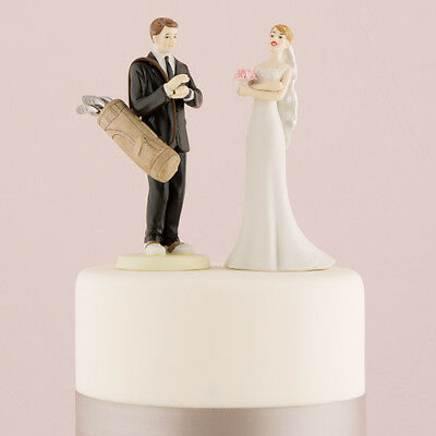 Golf Fanatic Groom and Exasperated Bride Funny Wedding Cake Topper Custom