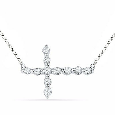 Natural Diamond Accent Sideways Cross Necklace in 10K White Gold