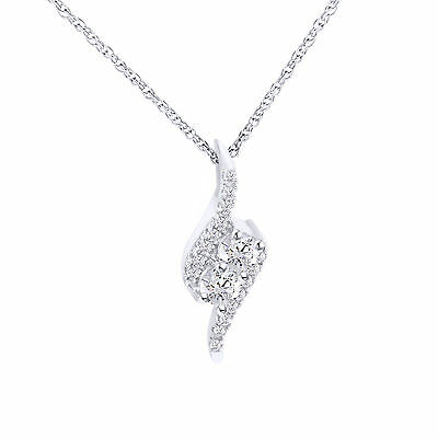 D/VVS1 Ever Us 1 CT Two-Stone Bypass Pendant in 14K White Gold