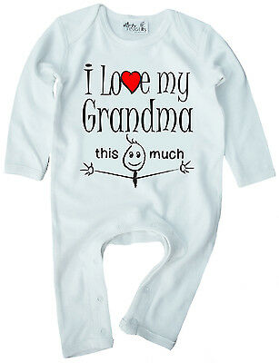 """Grandma Baby Clothes """"I Love My Grandma This Much"""" Baby Romper Suit Grandmother"""