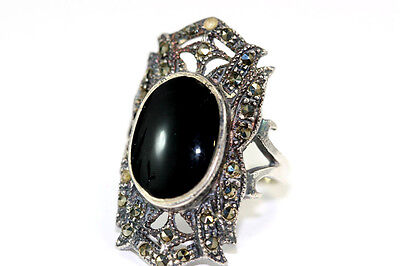 """B863 Onyx Sterling Marcasite 7.5g 925 Ring top 1 1/4"""" Size 7"""