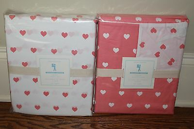 4-pc NWT Pottery Barn Kids Heart twin duvet cover & sheet set coral
