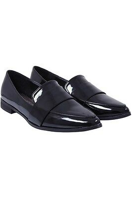 Black Patent Pointed Toe Wide Fit Loafers