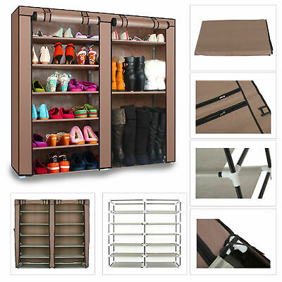 2 Doors Cover Shoe Rack 7 Tier Shoes Cabinet Storage Organizer  COFFEE/SILVER