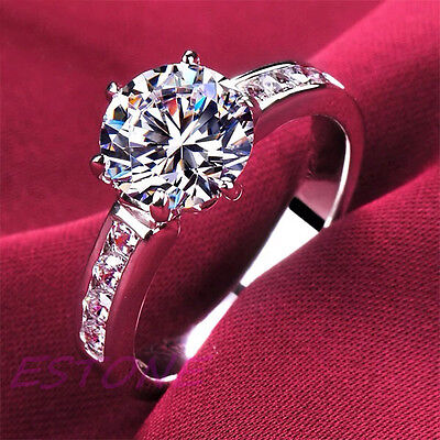 Fashion Silver Plated Diamond Rings For Women Wedding Engagement Crystal Gift