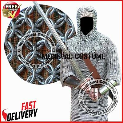 Buy Butted Aluminium Chainmail Shirt & Coif~Set Chainmail Haubergeon w/ Hood RXS