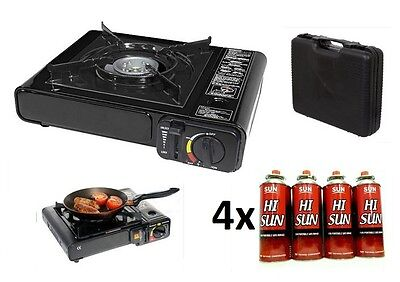 Portable Butane Gas Camping Stove And Carry Case Outdoor Bbq Picnic Cooker & Gas