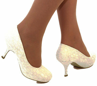 Ladies Ivory Lace Embellished Low Mid Heel Full Toe Court Wedding Bridal Shoes