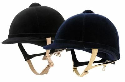 Charles Owen Hampton Riding Hat Helmet with Flesh Harness - Black or Navy