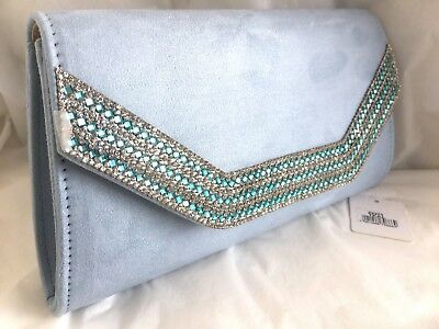 New Pale Powder Blue Faux Suede Evening Day Clutch Bag Wedding Club Prom Party