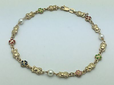 "14K Yellow Gold 10"" Chain Anklet with Bear, Enamel 4 Leaf Clover & Water Pearls"