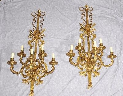 Pair French Louis XVI Ormolu Sconces Wall Lights Appliques