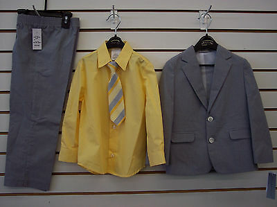 Toddler Boys $85.00 Geoffrey Beene Grey & Yellow 4-Pc Suit Size 2T-4T