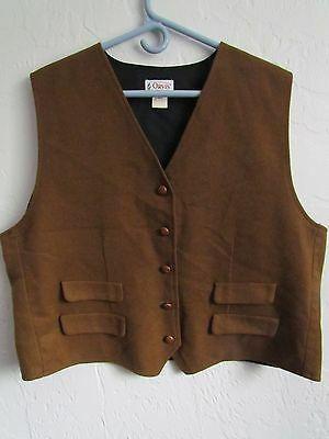 Orvis Fly Fishing Tan And Plaid Wool Vest Faux Pockets Men's Size 20 Large Euc!