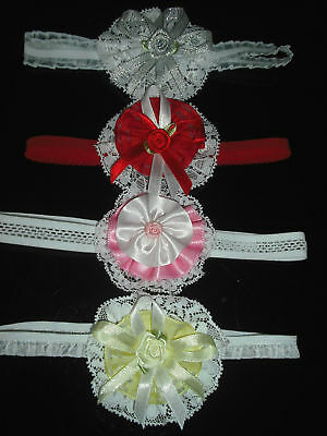 Baby Girls Hand Made Frilly Hair Bands And Frilly Bobbles