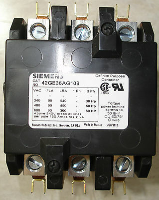 New Siemens 90 Amp 3 Pole Contactor 208 240 volt coil 42GE35AG106