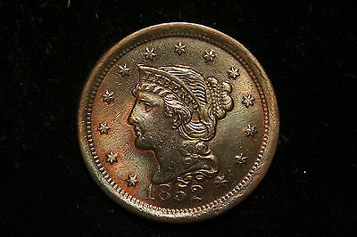 1852 Large Cent, Braided Hair , US Coin , Nice UNC Detail ,