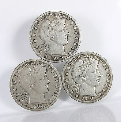 Raw Barber 50C 3 Pack 1908-D 1909 1910-S Circ Lot Of Silver Half Dollar US Coins