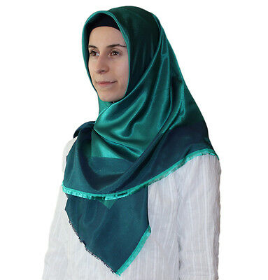 Bonjela Twill Large Turkish Square Hijab Scarf Reversible  Green