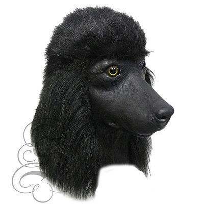 Latex BLACK POODLE DOG Animal Cosplay Fancy Dress Props Halloween Party Masks