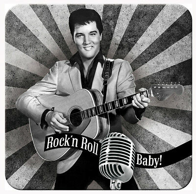Retro Metal Coaster ELVIS PRESLEY 'The King' 9 x 9cm B/W design with cork base