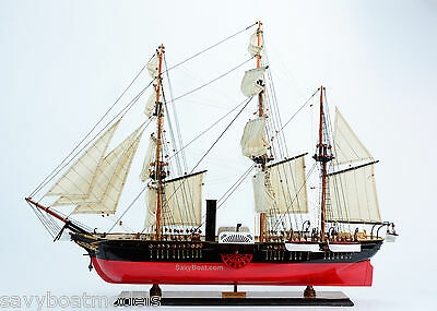 "USS Susquehanna Sidewheel Steam Frigate Sailing Ship 38"" Wooden Model"