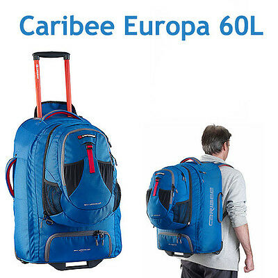 CARIBEE EUROPA 60L Travel Trolley Bag Luggage Wheeled Wheely Backpack 60 LITRE