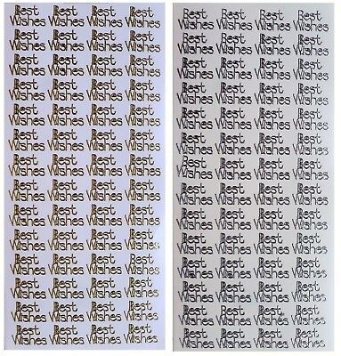 BEST WISHES Peel off Stickers Sentimentsx 56 - Card Making Gold or Silver