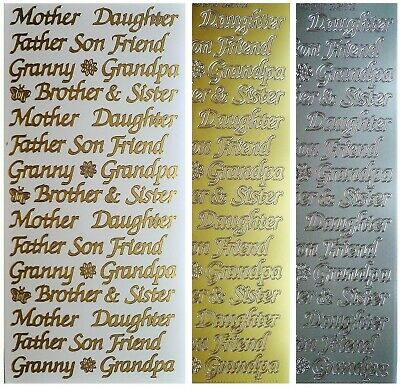 FAMILY Peel Off Stickers Mother Daughter Father Son Brother Sister Gold Silver