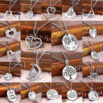 Vintage Silver Engraved Words Flower Tree Heart Moon Medal Pendant Necklace Gift