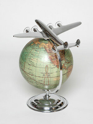 Globe with Aircraft Vintage Antique Look Decor Globe World Map Gift Engraving