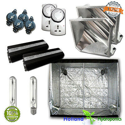 2x 600W Digital Ballast HPS Grow Lights Reflector Tent 2x2x2m Hydroponic kit