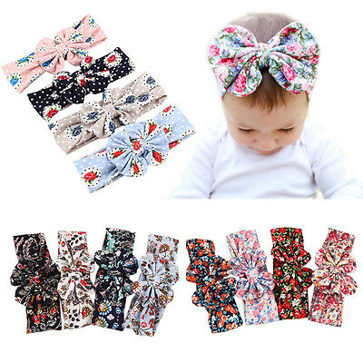 Retro Turban Baby Girls Headband Kids Floral Flowers Hairband Bow Knot Head Wrap
